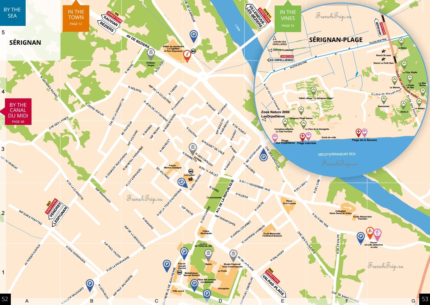Карта Serignan, в окрестностях Безье