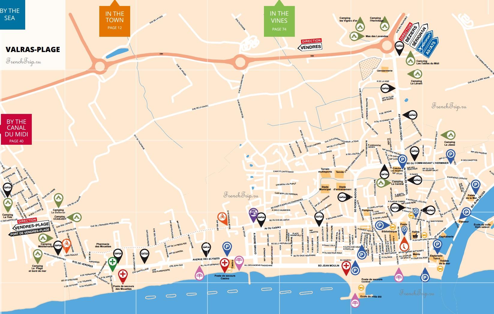 Пляжи Безье - Valras - карта