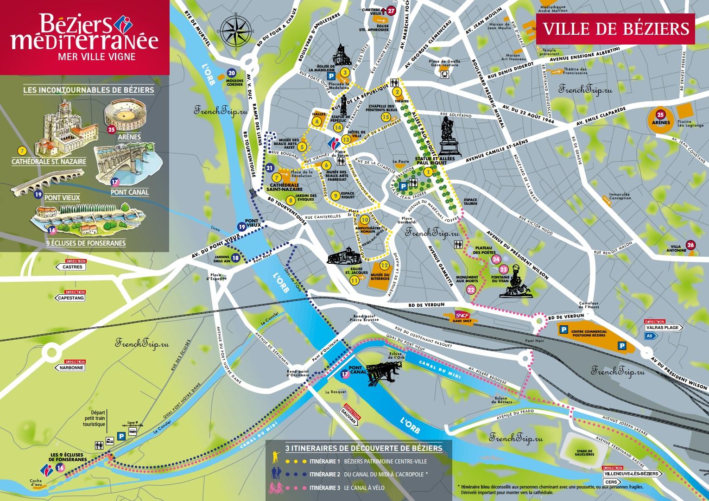 Туристический маршрут по Безье - достопримечательности Безье на карте, путеводитель по городу Безье, Франция - что посмотреть в Безье