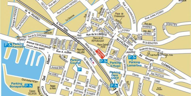 Saint-Raphaël-parking-map - парковки в Сен-Рафаэле - карта парковок