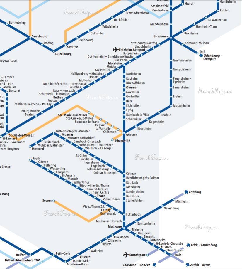 Alsace-train-TER-map - Поезда и автобусы по Эльзасу