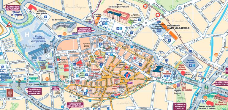 Карта города Гап с отмеченными достопримечательностями