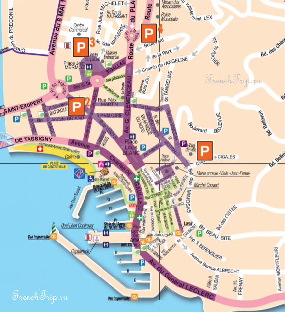 Saint-Maxime - Parking-map- Парковки в Сент-Максим