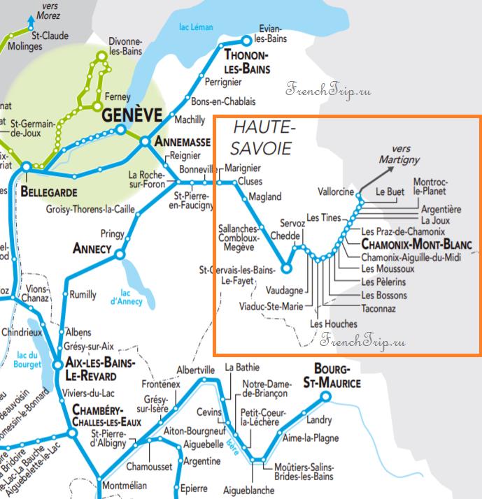 Megeve train map Vallorcine, Chamonix, Les Houches, Argentiere