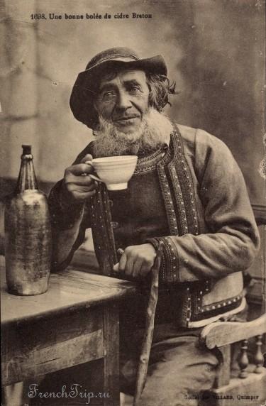 """La Route du Cidre en Cornouaille - Une bonne bolée de cidre Breton"""", Postkarte, gesehen im Musée Départemental Quimper"""