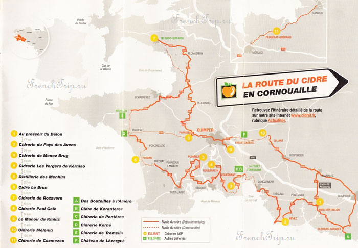 Route du Cidre en Cornouaille - map
