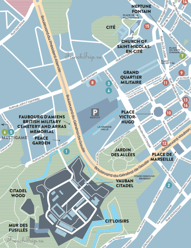 Arras map Citadel, lower town, cite