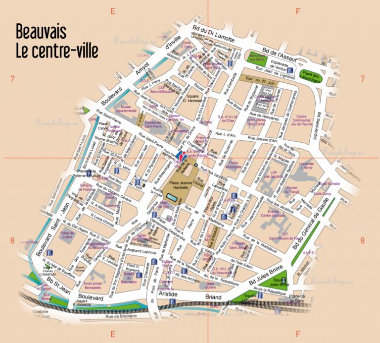Туристическая карта Бове с отмеченными достопримечательностями - Beauvais (Бове), Пикардия (О-де-Франс), Франция - лучший путеводитель по городу. Как добраться, что посмотреть: достопримечательности, фото, карта, маршрут