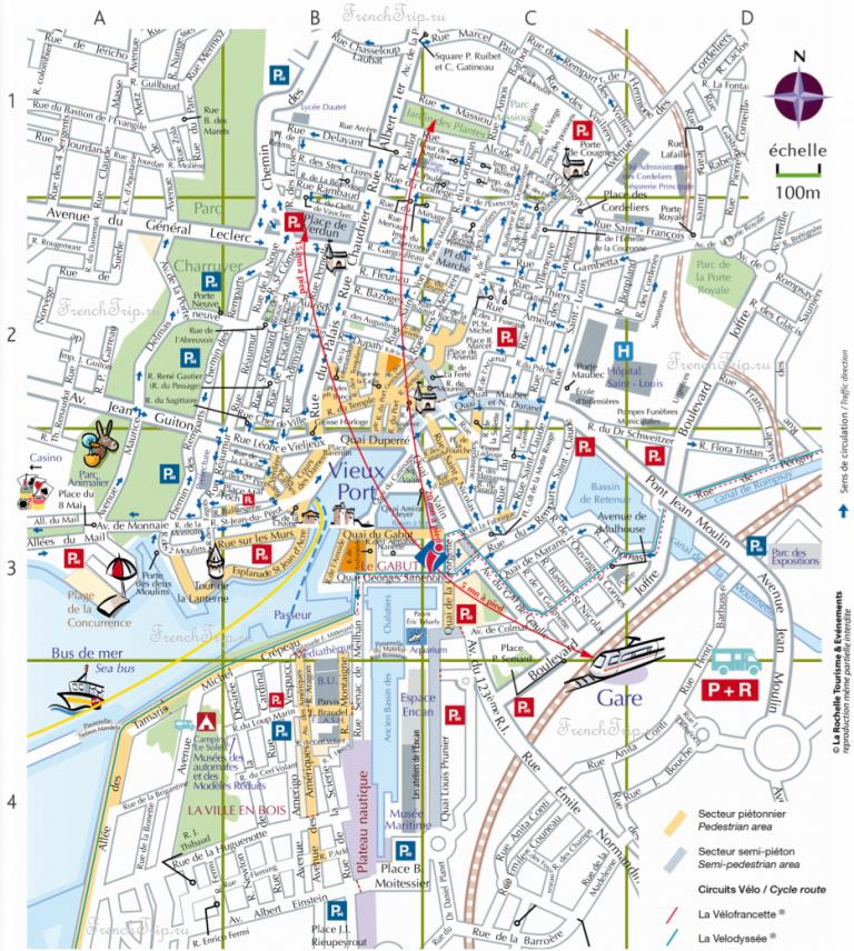 Туристическая карта города Ла-Рошель, парковки на карте Ла Рошель