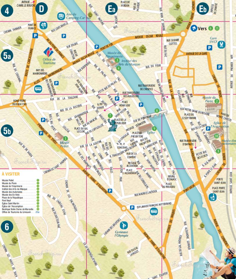 Туристическая карта Лиму - достопримечательности Лиму на карте - что посмотреть в Лиму - путеводитель по городу Лиму, Франция