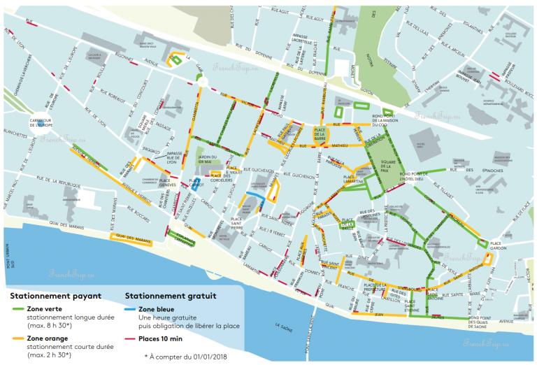 Уличные парковки в Маконе - карта парковок - как добраться в Макон, на машине в Макон