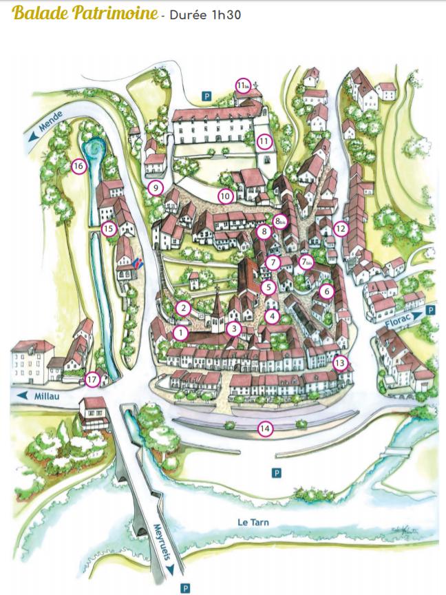 Sainte Enimie_walking tour_map_travel guide Туристический маршрут по Сент-Эними