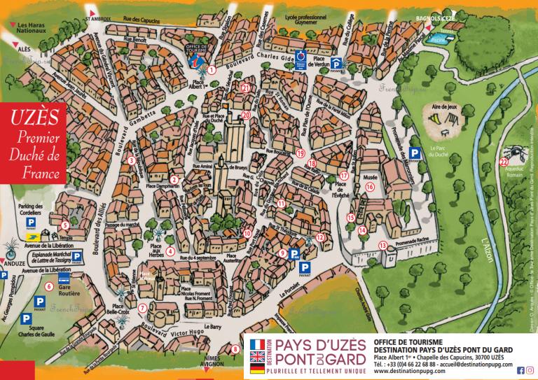 Uzes Map walking tour - Туристический маршрут по городу Юзес