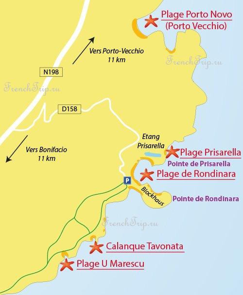 Bonifacio Porto Vecchio beaches. Rondinara, prisarella, tavonata, U Marescu Пляжи Бонифачо