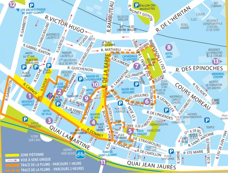 Macon tourist route, walking tour map_Main Туристический маршрут по Макону