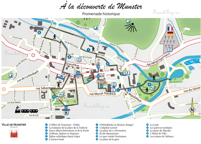 Munster, Alsace_map, sights - walking tour