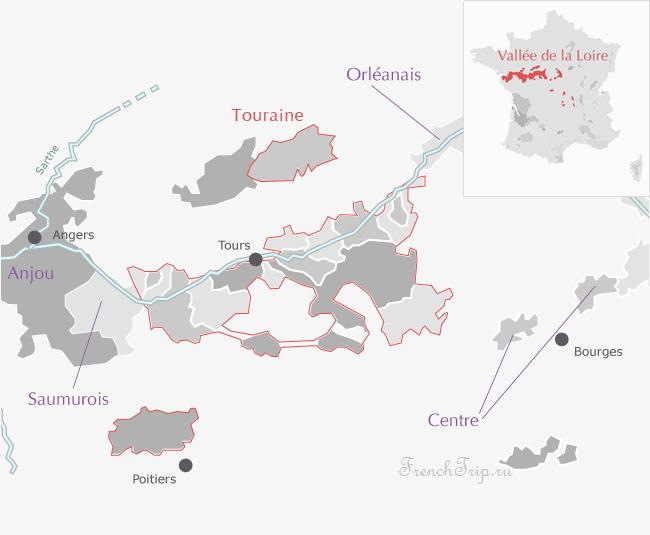 Вина верхнего Пуату (AOC Haut-Poitou) - вина долины луары - винодельческие области на карте