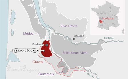 Bordeaux vineyards wine routes, Винные маршруты Бордо - карта - виноградники Бордо - Graves vineyards map - карта виноградников Graves AOC Pessac-Leognan
