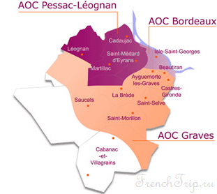 Bordeaux vineyards wine routes, Винные маршруты Бордо - карта - виноградники Бордо - Graves vineyards map - карта виноградников Graves AOC