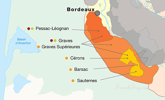 Bordeaux vineyards wine routes, Винные маршруты Бордо - карта - виноградники Бордо - Graves vineyards map - карта виноградников Graves