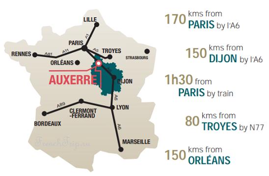 Auxerre location - расположение Осера, как добраться в Осер, Осер на карте Франции