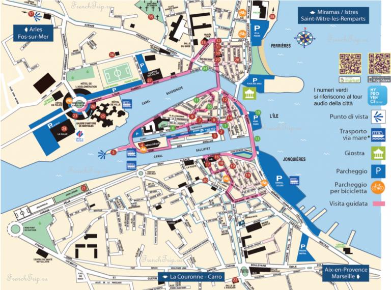 Туристический маршрут по городу Мартиг, достопримечательности Мартига на карте, Мартиг, Прованс, Франция - что посмотреть