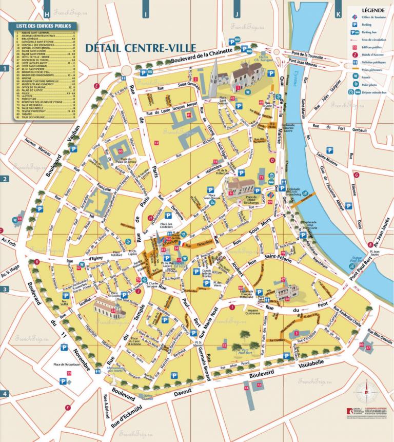 Карта Осера - достопримечательности Осера на карте, туристическая карта города Осер (Auxerre), Бургундия, Франция, парковки в Осера на карте